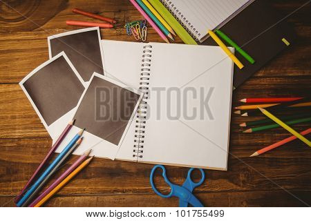 School supplies on desk with copy space shot in studio