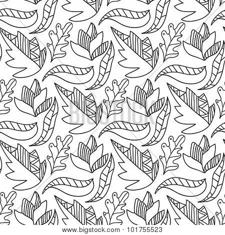 Autumn leaves seamless pattern. Repeating background in black and white color.