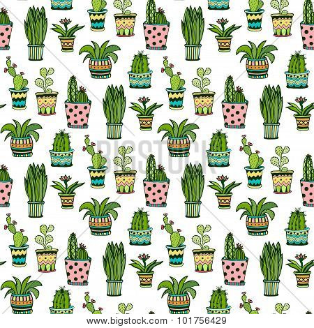 Succulent and cactus seamless pattern. Colorful doodle flowers in pots. Vector background.