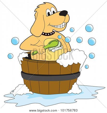 Dog taking a bath - Illustration - Vector