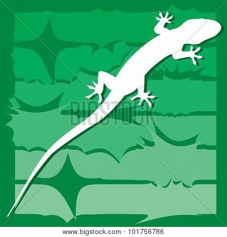 Gecko on wildlife illustration - vector