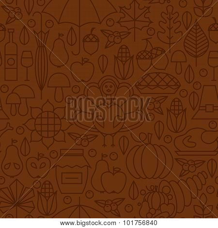 Thin Line Holiday Thanksgiving Day Brown Seamless Pattern