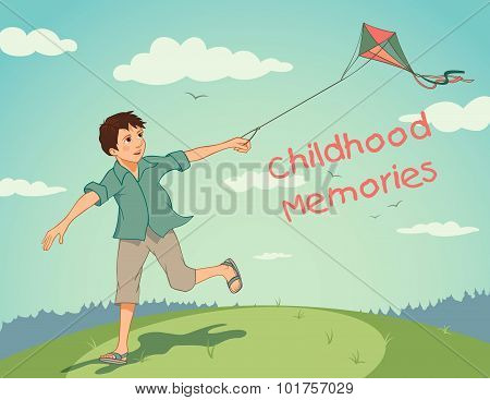 Happy Running Boy With A Kite