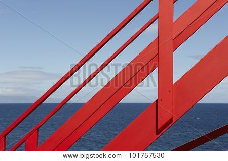 Coastline Viewpoint With Red Stairs In Pico Island. Azores. Portugal