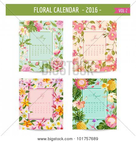 Floral Calendar - 2016 - with Vintage Flowers - in vector - vol.2