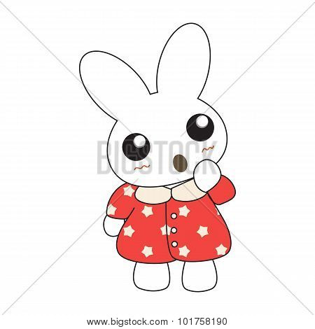 Cute Cartoon Bunny Girl In A Pretty Red Dress.
