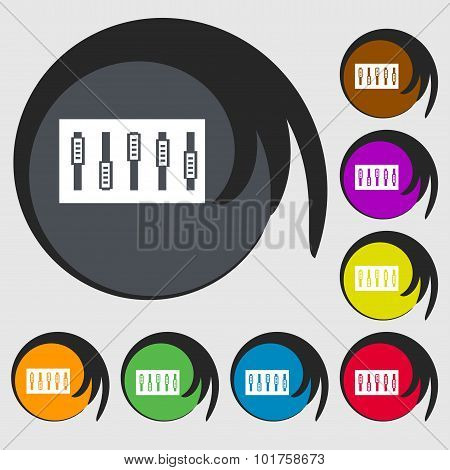 Dj Console Mix Handles And Buttons Icon Symbol. Symbols On Eight Colored Buttons. Vector