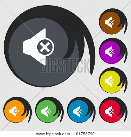 Mute Speaker Sign Icon. Sound Symbol. Symbols On Eight Colored Buttons. Vector