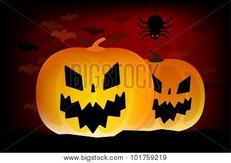 Two vector helloween pumpkins head