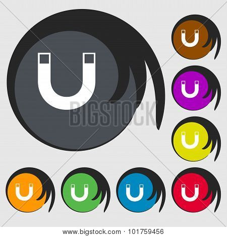 Magnet Sign Icon. Horseshoe It Symbol. Repair Sig. Symbols On Eight Colored Buttons. Vector