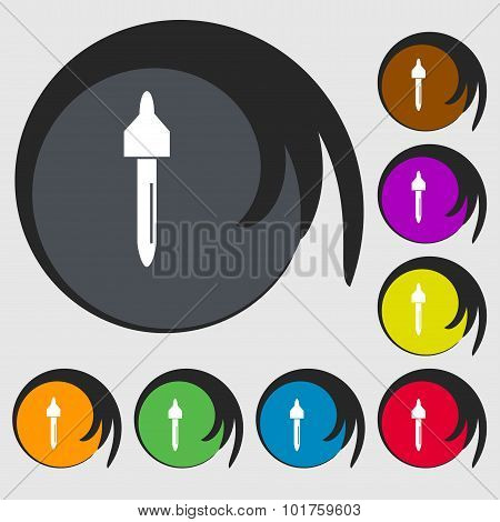 Dropper Sign Icon. Pipette Symbol. Symbols On Eight Colored Buttons. Vector
