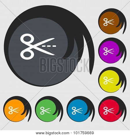 Scissors With Cut Dash Dotted Line Sign Icon. Tailor Symbol. Symbols On Eight Colored Buttons. Vecto