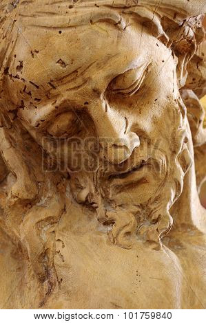 christ wooden statue portrait