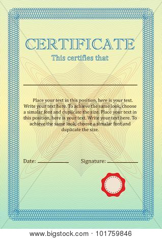 Certificate or Diploma of completion. Certificate of Achievement