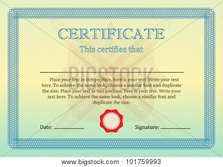 Certificate or Diploma of completion template. Vector.