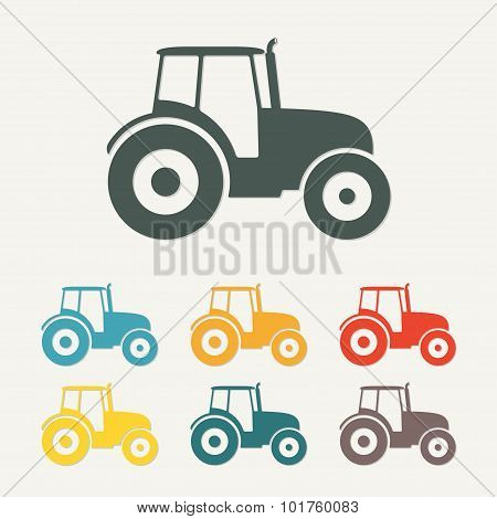 Tractor icon. Transportation flat icon. Vector illustration.