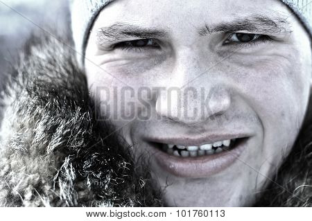 Man with winter cap and fur collar
