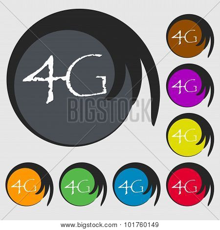 4G Sign Icon. Mobile Telecommunications Technology Symbol. Symbols On Eight Colored Buttons. Vector