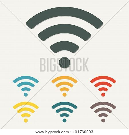 Wireless and wifi icon for remote internet access. Vector.