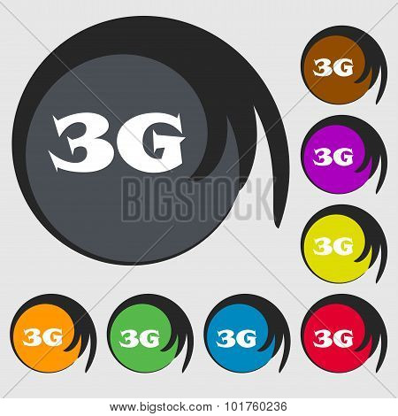 3G Sign Icon. Mobile Telecommunications Technology Symbol. Symbols On Eight Colored Buttons. Vector