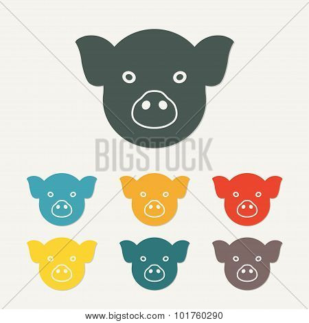 Pig head or face icon. Agriculture and farming concept. Vector.