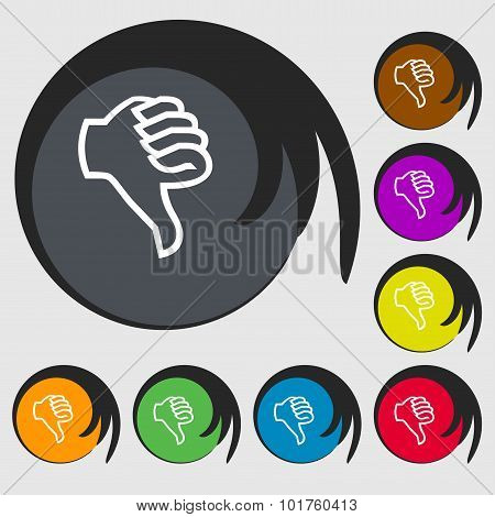 Dislike Sign Icon. Thumb Down. Hand Finger Down Symbol. Symbols On Eight Colored Buttons. Vector