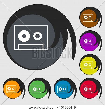 Cassette Sign Icon. Audiocassette Symbol. Symbols On Eight Colored Buttons. Vector