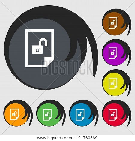 File Locked Icon Sign. Symbols On Eight Colored Buttons. Vector