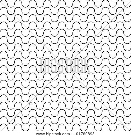 Vector modern seamless geometry pattern waved line black and white
