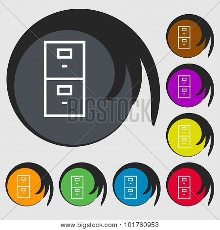 Safe Sign Icon. Deposit Lock Symbol. Symbols On Eight Colored Buttons. Vector