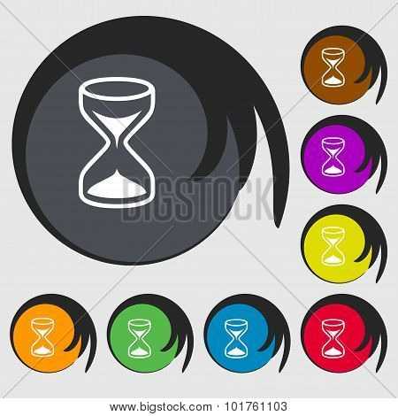 Hourglass Sign Icon. Sand Timer Symbol. Symbols On Eight Colored Buttons. Vector