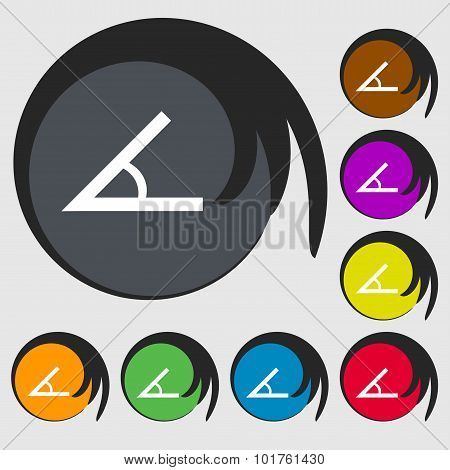 Angle 45 Degrees Icon Sign. Symbols On Eight Colored Buttons. Vector