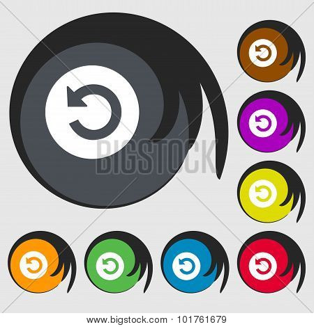 Upgrade, Arrow Icon Sign. Symbols On Eight Colored Buttons. Vector