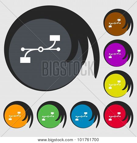 Bezier Curve Icon Sign. Symbols On Eight Colored Buttons. Vector