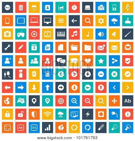 Multimedia icons set for websites and mobile apps in color squares