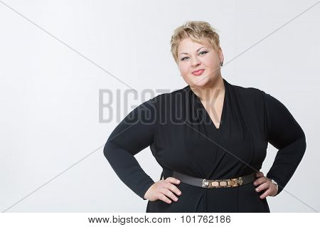 Fat woman in a beautiful dress