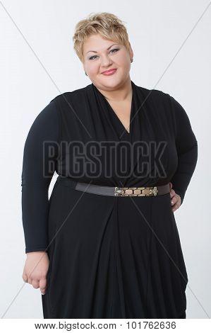 Fat woman in a beautiful dress