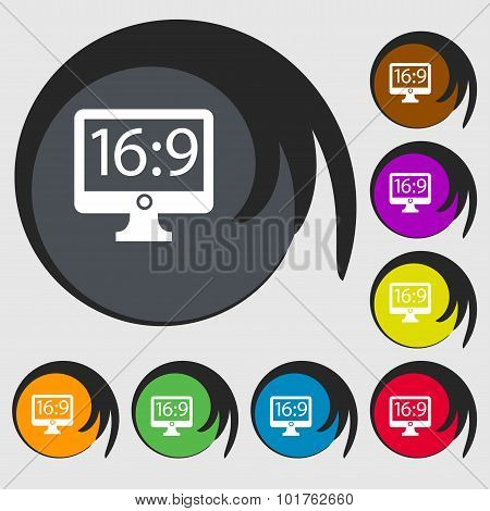 Aspect Ratio 16 9 Widescreen Tv Icon Sign. Symbols On Eight Colored Buttons. Vector