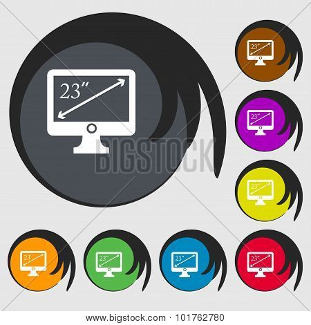 Diagonal Of The Monitor 23 Inches Icon Sign. Symbols On Eight Colored Buttons. Vector