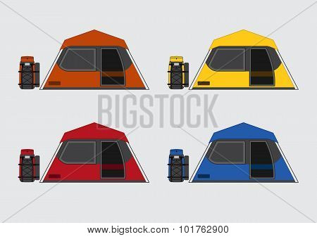 Flat color tents and bags set
