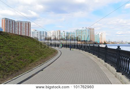 Krasnogorsk Russia - April 22.2015: The Zivopisnaya Promenade On  Banks Of The Moskva River. Locatio