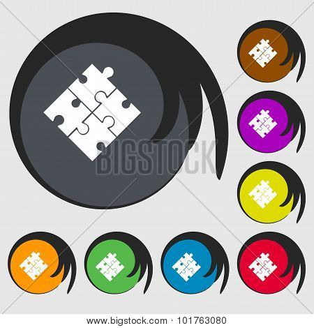 Puzzle Piece Icon Sign. Symbols On Eight Colored Buttons. Vector