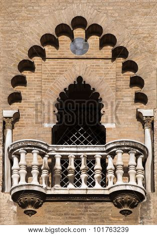 Balcony Of A Medieval Tower In Seville