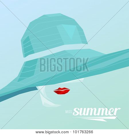 Beautiful portrait woman wearing elegant wide-brimmed hat