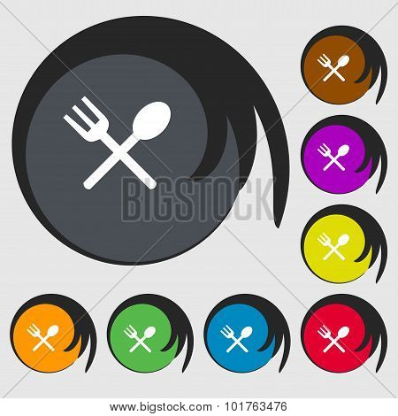 Fork And Spoon Crosswise, Cutlery, Eat Icon Sign. Symbols On Eight Colored Buttons. Vector