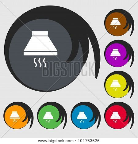 Kitchen Hood Icon Sign. Symbols On Eight Colored Buttons. Vector
