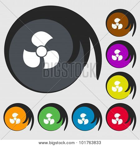 Fans, Propeller Icon Sign. Symbols On Eight Colored Buttons. Vector