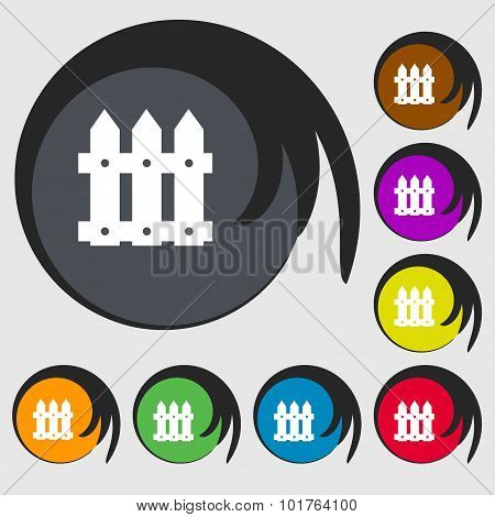 Fence Icon Sign. Symbols On Eight Colored Buttons. Vector