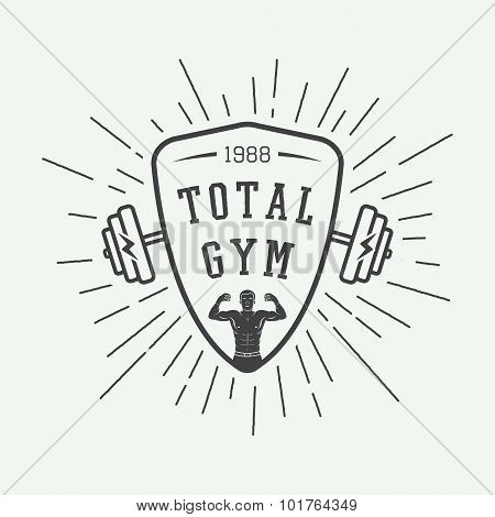Gym Logo, Label And Or Badge Vintage Style