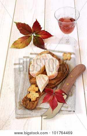 Red Leaves, French Cheese And Wineglass